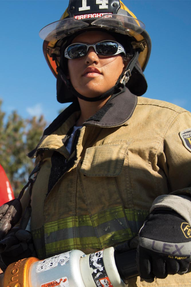 Female Fire Fighter, Fire Science Technology degree program, Valencia College in Orlando, Florida
